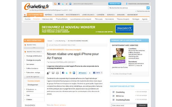 Publication Noven e-marketing application iPhone Air France