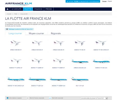 Toute la flotte Air France KLM