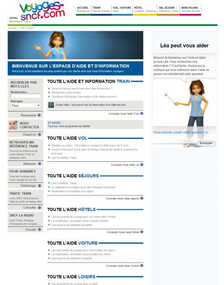 Home Page de l'Aide en ligne Voyages-sncf.com