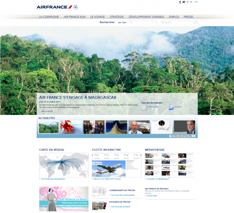 Home Page du site Air France Corporate