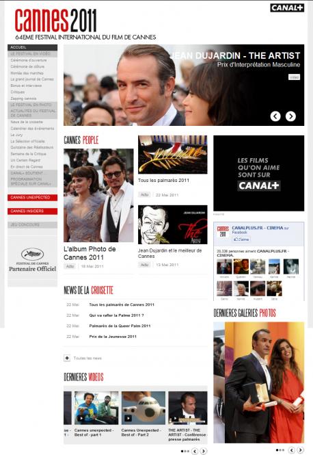 Home Page du site du Festival de Cannes 2011