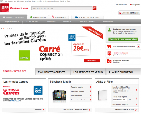Home page portail SFR.fr