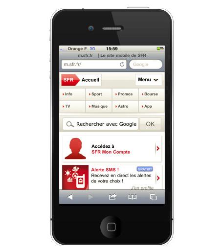 Home Page du portail mobile SFR.fr